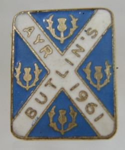 Butlins Holiday Ayr 1961 Enamel Pin Badge - Blue & White